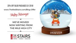 The Red Stairs is expanding and moving to Denver. Offering 20% off blog packages Q1 2018